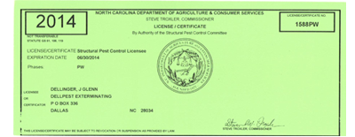 North Carolina Pest Control License