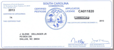South Carolina Commerical Pest Control License