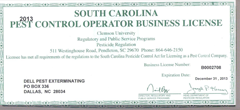 South Carolina Structural Pest Control License